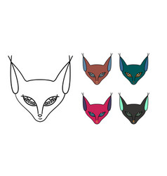 Set of five muzzle of a cat-sphinx vector
