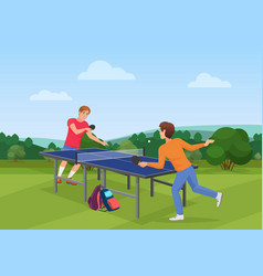 Table tennis pingpong match on the nature the vector