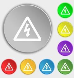Voltage icon sign symbol on five flat buttons vector