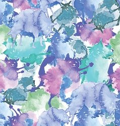 watercolor funny cats pattern vector image
