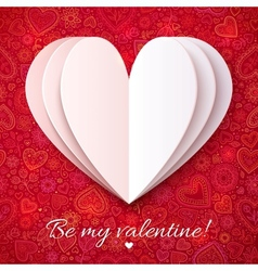 White paper heart on red ornate background vector image vector image