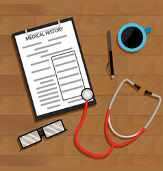 workplace doctor top view vector image vector image