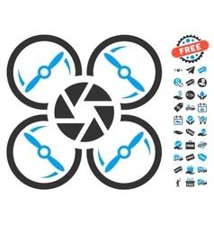 Shutter drone icon with free bonus vector
