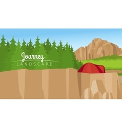 Mountain and forest landscape background vector