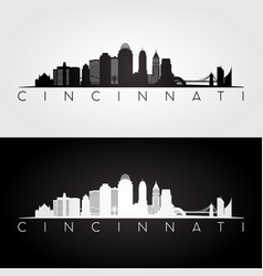 Cincinnati usa skyline and landmarks silhouette vector