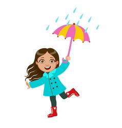 Girl dancing under raindrops with umbrella kid in vector