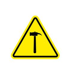 Hammer warning sign yellow repair hazard vector