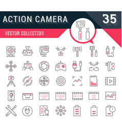 set flat line icons action camera vector image