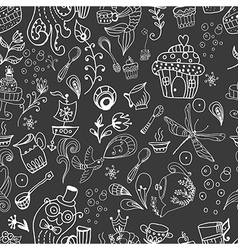Seamless funny tea time background doodle vector image