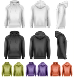 Set of different colored male hoodies vector