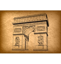 Arch of triumph on the brown background vector