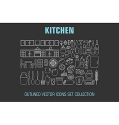 Outline set cooking icons vector