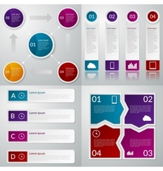 Infographics four templates vector