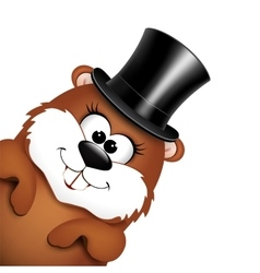Funny marmot in hat on a white background vector image