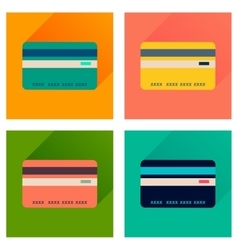 Concept of flat icons with long shadow bank card vector