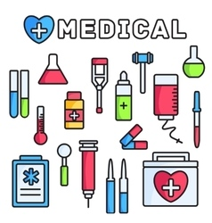 Thin lines style medical equipment set icons vector