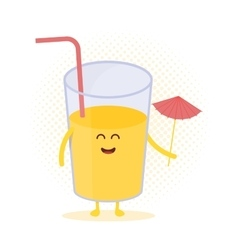 Funny cute juice drawn with a smile eyes and vector image