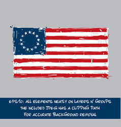 american betsy ross flag flat - artistic brush vector image vector image