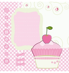 Background with cartoon cake mothers day vector