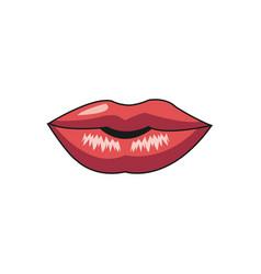 Beautiful make glamour gloss lips vector