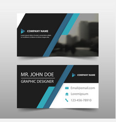 Blue black corporate business card name card vector