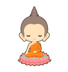 Buddha sitting on lotus flower character design vector
