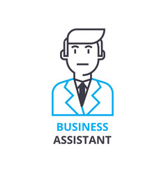 business assistant concept outline icon linear vector image