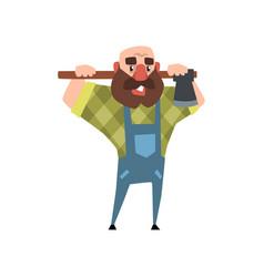 Cartoon character of bearded man with axe funny vector