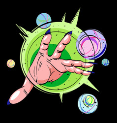 Cartoon image of hand casting spell vector