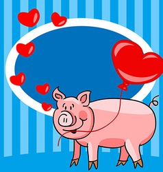 Cartoon pig love card vector image vector image