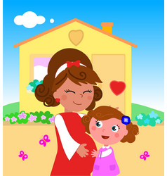 cartoon pregnant woman with daughter vector image vector image