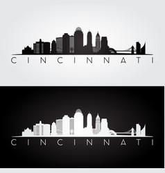 Cincinnati usa skyline and landmarks silhouette vector