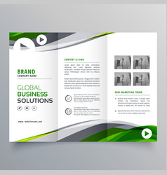 Creative trifold brochure design with green and vector