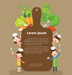 cute family cooking template vector image vector image