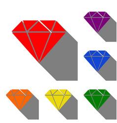 Diamond sign set of red orange vector