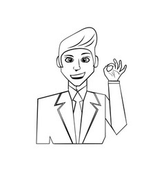 Elegant man cartoon vector