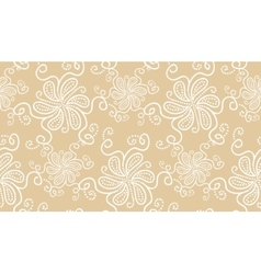 Elegant white flower seamless pattern on beige vector