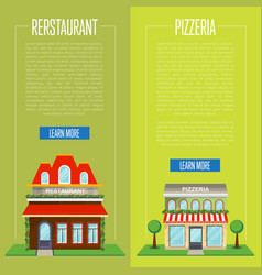Facade of pizzeria and restaurant flyer set vector