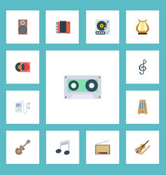 flat icons tone symbol retro disc audio box and vector image