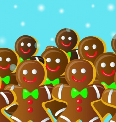 gingerbread man on snowfall vector image vector image