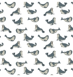 gray seals on transparent background pattern vector image vector image