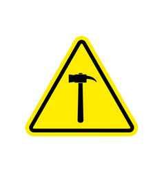 Hammer warning sign yellow repair hazard vector