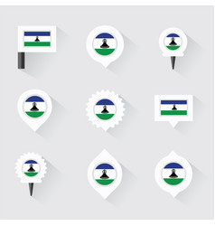 Lesotho flag and pins for infographic and map vector