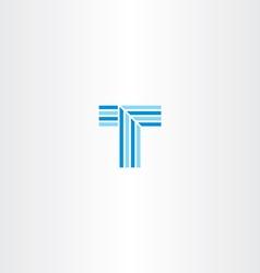 letter t blue line logo vector image