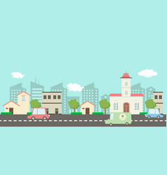 Main street in public park with nature landscape vector
