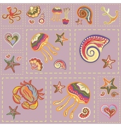 Marine Seamless Pattern Sea Patchwork vector image vector image