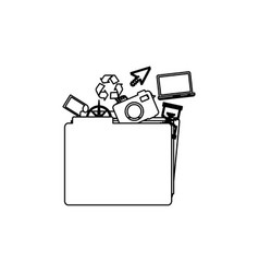 Monochrome contour of folder with personal files vector