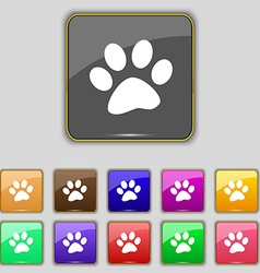 Paw icon sign set with eleven colored buttons for vector