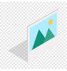 picture with mountains and sun isometric icon vector image