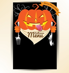 Scary pumpkin holding spoon and knives for vector
